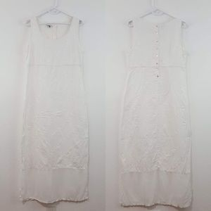 {Johnny Was} White Linen Embroidered Maxi Dress L